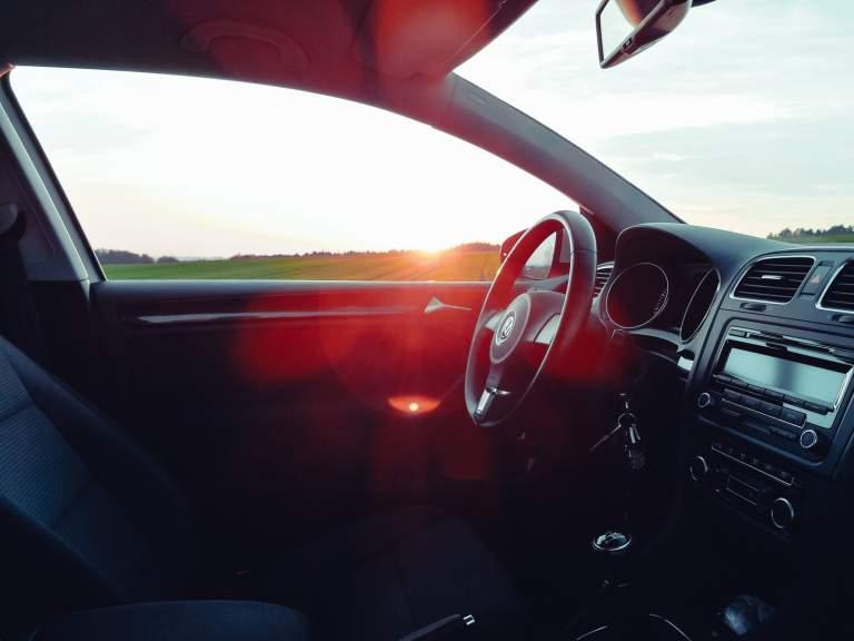 black vehicle interior view